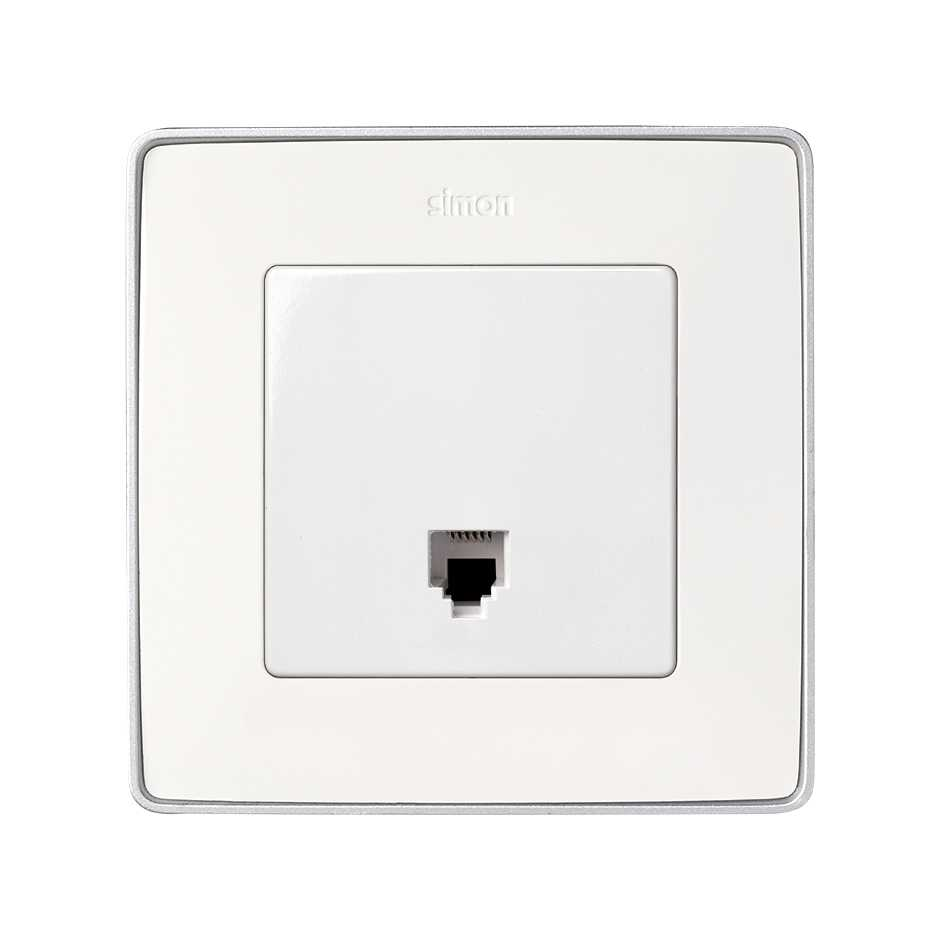 Telephone Socket With 6 Pins Rj12 White Simon Wiring Wall Plate Solucion Toma Telefonica Blanco 82 Detail 2