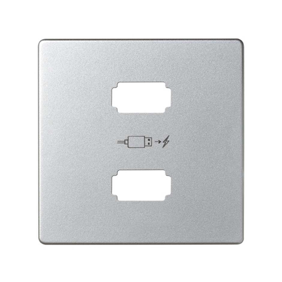 Placa para cargador USB 2 conectores 5Vdc tipo A aluminio Simon 82 ...