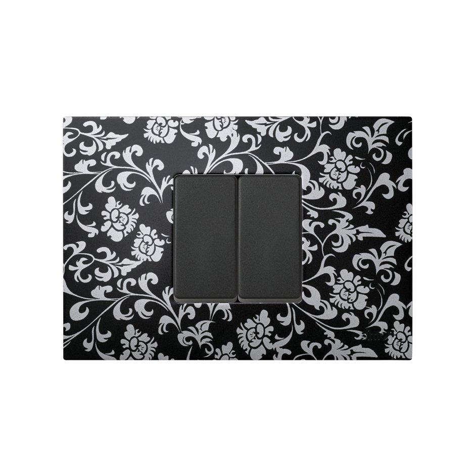 Funda intercambiable para marco 1 elemento vintage negro plata Simon ...