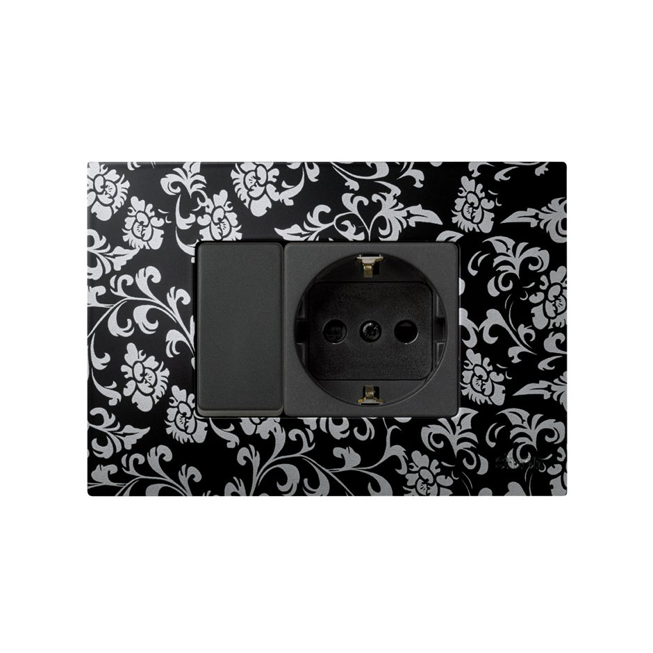 Set of single-pole switch, graphite Schuko socket outlet ...