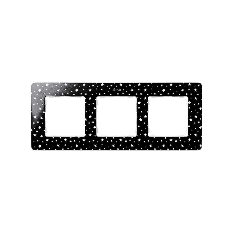 Frame For 3 Elements Stars Black Simon 82 Detail Original Ir Light Dimmer V1 8200630 222 Marco Elementos Estrellas Base Negra