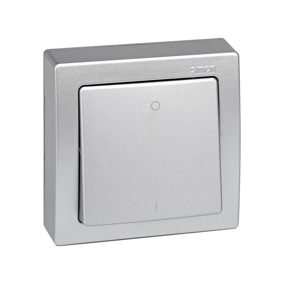 Single rocker for double-pole switch with I/O symbol aluminium Simon ...