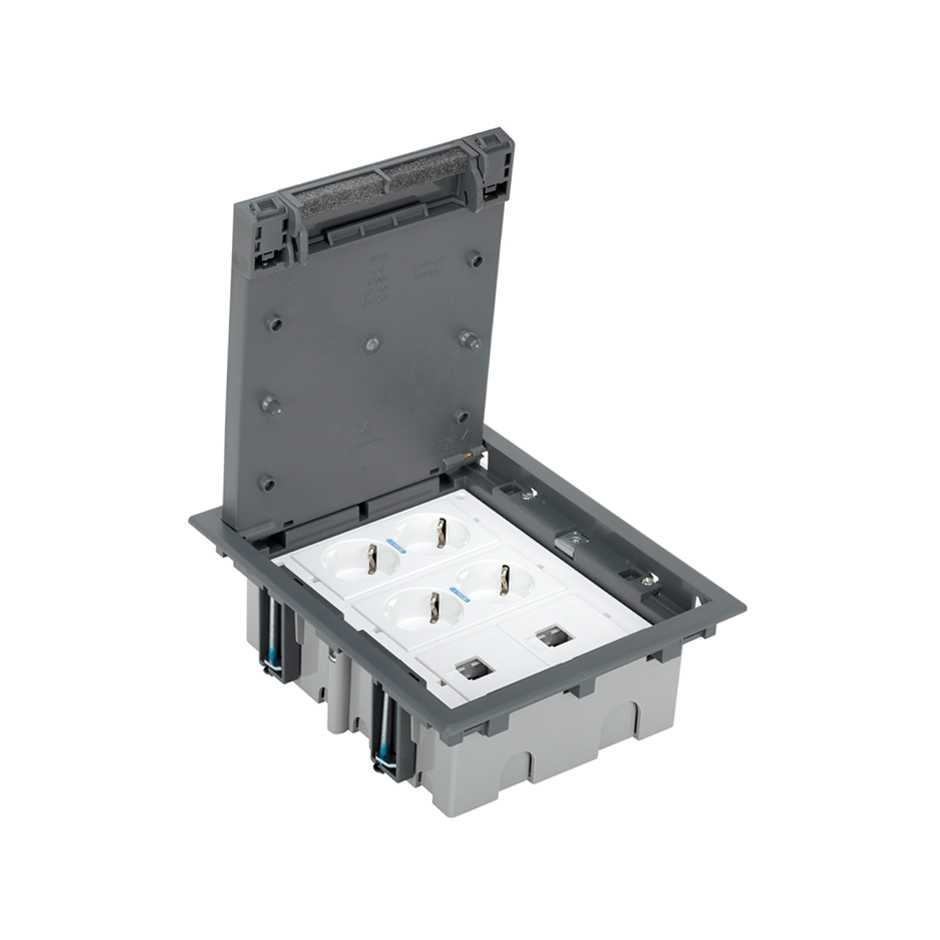 Adjustable Floor Box Kit For Concrete 6 Elements With 1 Double 4 Way Rj45 Switch 52006303 030 Caja Suelo Regulable Pavimento