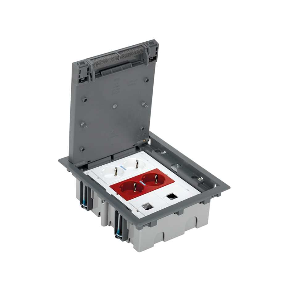 Adjustable Floor Box Kit For Concrete 6 Elements With Double Wiring Rj45 Socket 52006304 030 Caja Suelo Regulable Pavimento
