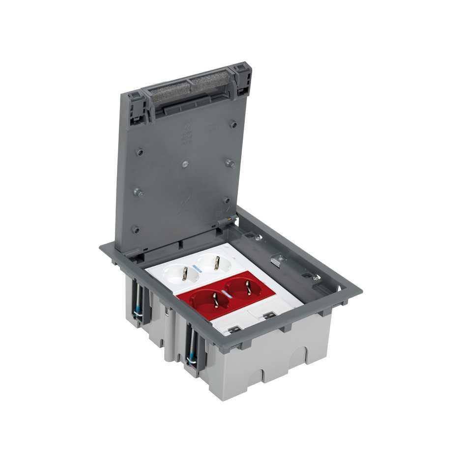Kit caja de suelo regulable suelo técnico 6 elementos con enchufe ...