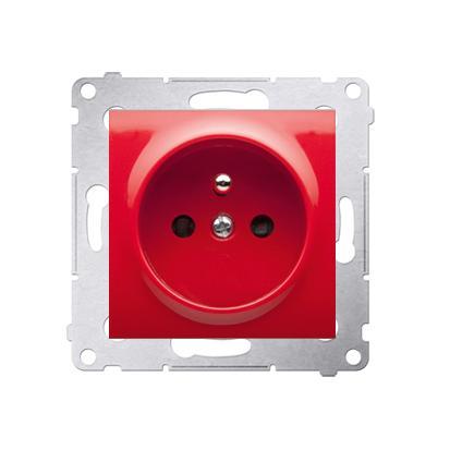 Prise de courant rouge 2P+T connexion à vis avec griffes..